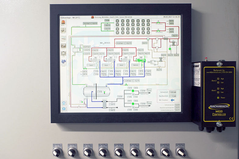 Touch Panel mit Übersichtsbildschirm für R717-Kaltsoleerzeuger