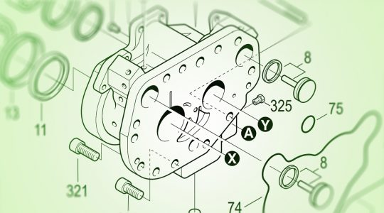Das Bild zeigt die technische Skizze eines fiktiven Bauteils. Mehrere Linien und Markierungen deuten dem Betrachter an, welche Schrauben und Zubehörteile wo eingesetzt werden müssen. Ersatzteilsoftware EPARTS