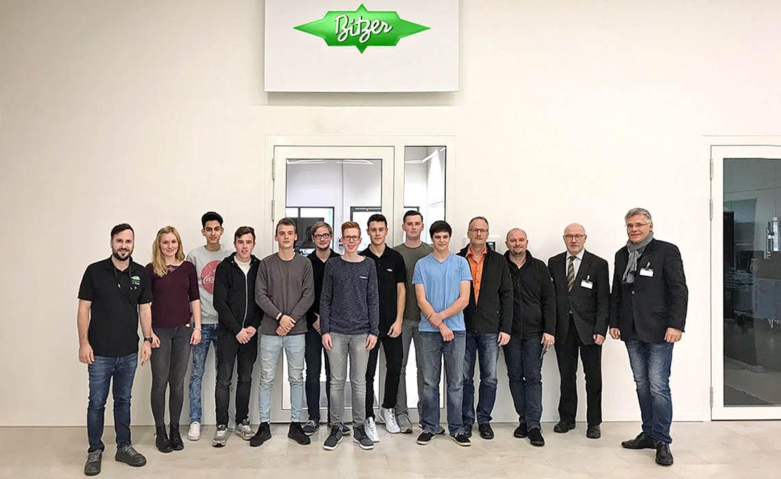 Curios BITZER trainees in front of the BITZER office in Rottenburg-Ergenzingen