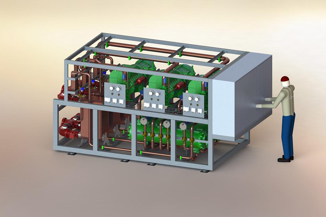 Grafik einer BITZER Klimaanlage im Schiffsbau in der Flusskreuzfahrt