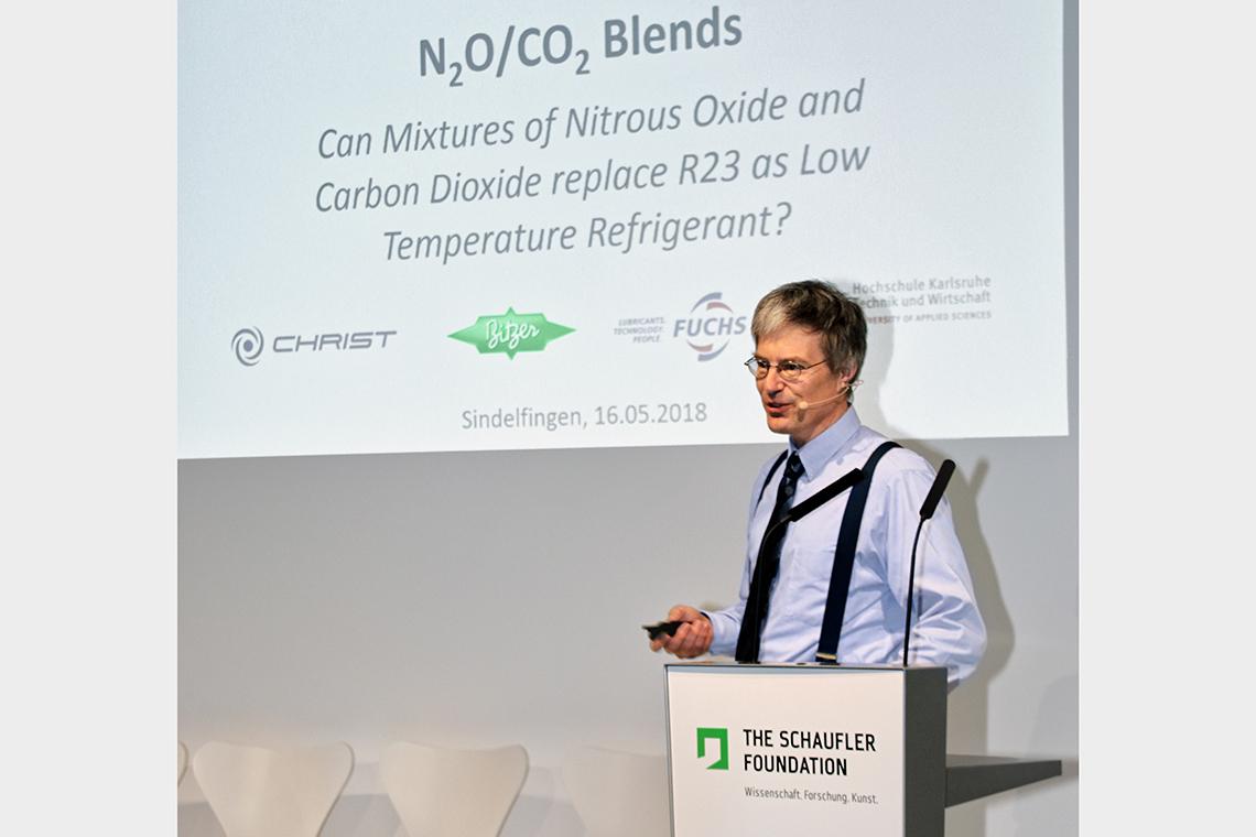 """卡尔斯鲁厄应用科技大学制冷、空调与环境技术研究所发言人 Michael Kauffeld 教授在肖夫勒基金会国际""""压缩制冷行业峰会""""上发表演讲"""