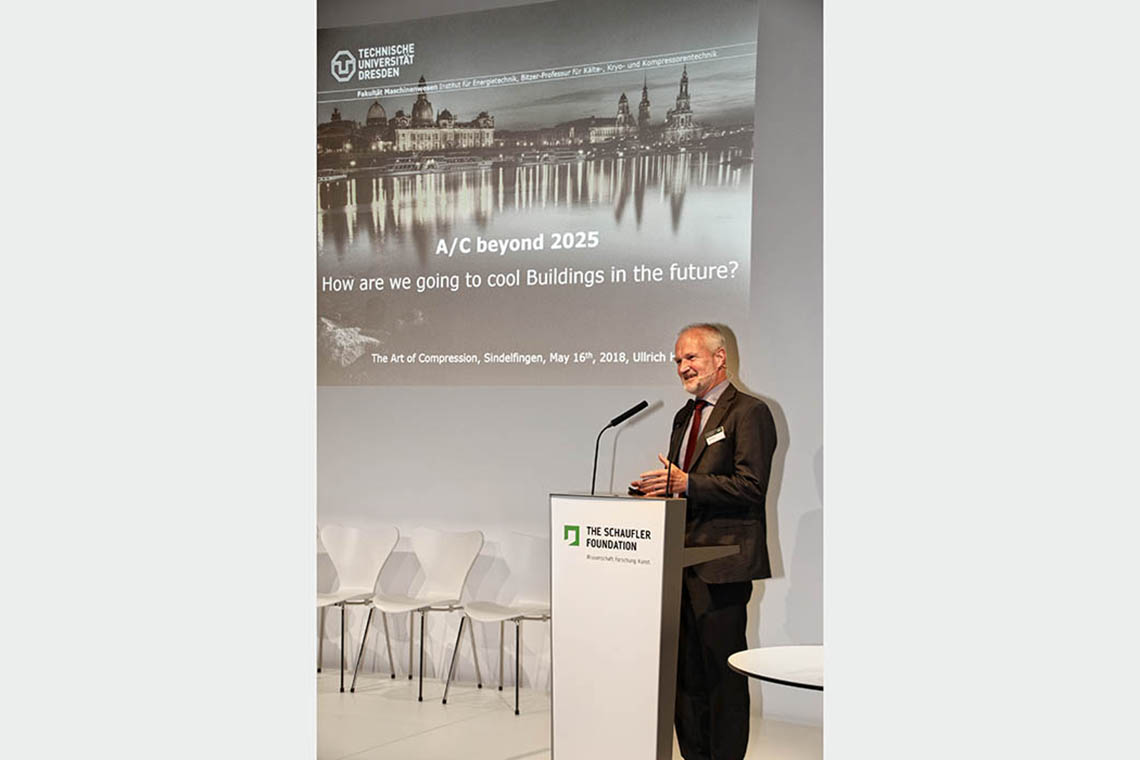 "Prof. Dr. Ullrich Hesse, Manager of the BITZER-Chair of Refrigeration, Cryogenics and Compressor Technology, Technical University Dresden, during his speech about ""Air-Conditioning beyond 2025"""