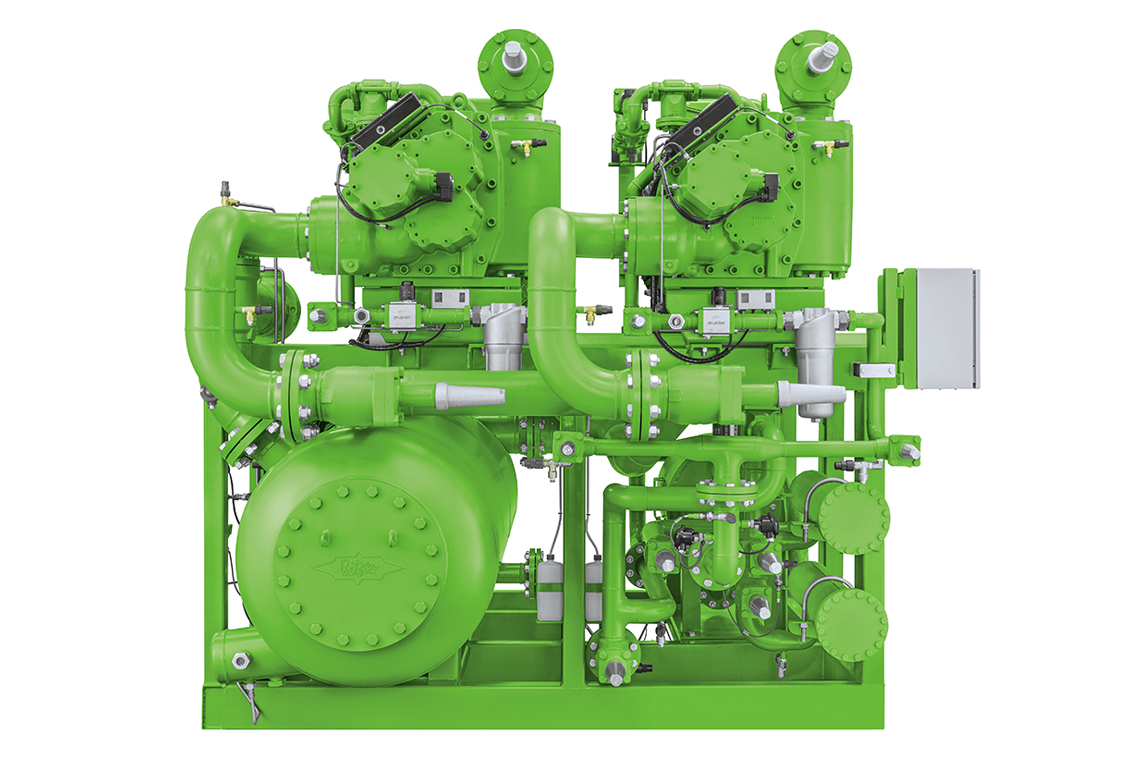 Green BITZER ammonia compressor pack with compressor and other components