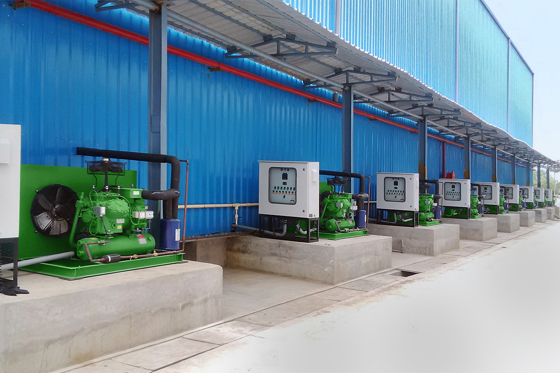 Nine BITZER condensing units outside of a food factory in Chennai, India